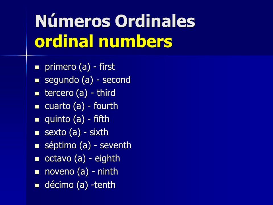 Números Ordinales ordinal numbers primero (a) - first primero (a) - first segundo (a) - second segundo (a) - second tercero (a) - third tercero (a) -