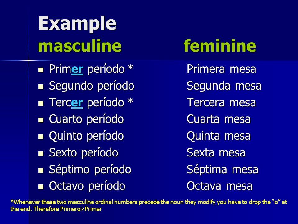 Example masculine feminine Primer período*Primera mesa Primer período*Primera mesa Segundo períodoSegunda mesa Segundo períodoSegunda mesa Tercer perí