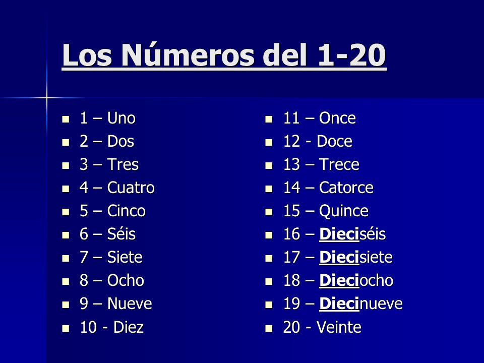 Los Números del 1-20 1 – Uno 1 – Uno 2 – Dos 2 – Dos 3 – Tres 3 – Tres 4 – Cuatro 4 – Cuatro 5 – Cinco 5 – Cinco 6 – Séis 6 – Séis 7 – Siete 7 – Siete
