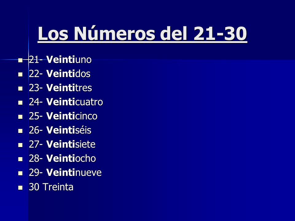 Los Números del 21-30 21- Veintiuno 21- Veintiuno 22- Veintidos 22- Veintidos 23- Veintitres 23- Veintitres 24- Veinticuatro 24- Veinticuatro 25- Vein