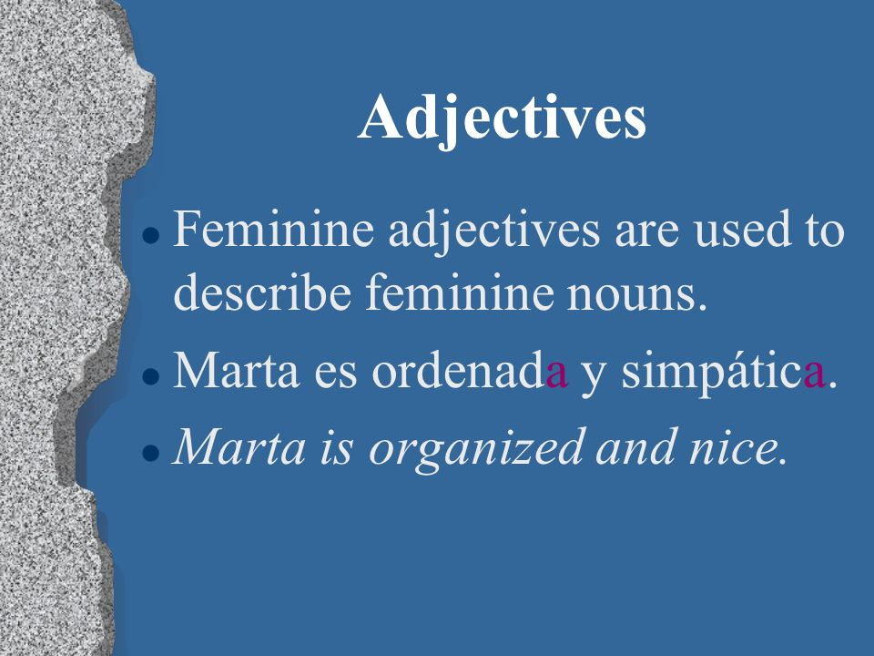 Adjectives l Masculine adjectives are used to describe masculine nouns.