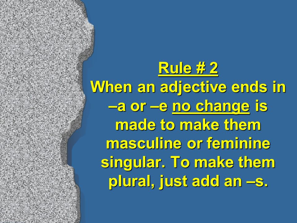 Rule # 2 When an adjective ends in –a or –e no change is made to make them masculine or feminine singular.