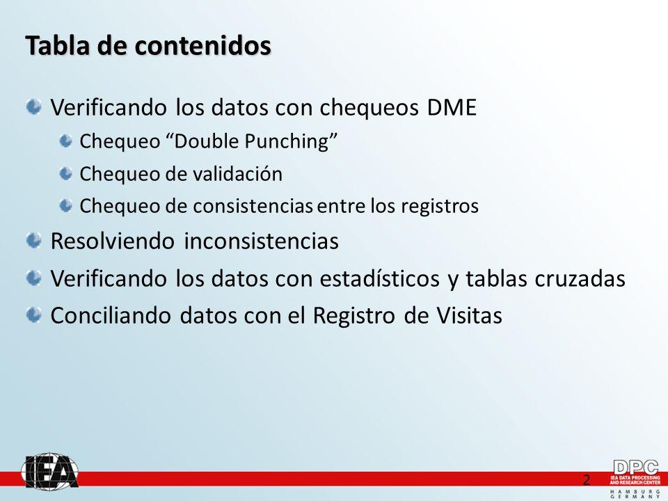 2 Tabla de contenidos Verificando los datos con chequeos DME Chequeo Double Punching Chequeo de validación Chequeo de consistencias entre los registros Resolviendo inconsistencias Verificando los datos con estadísticos y tablas cruzadas Conciliando datos con el Registro de Visitas