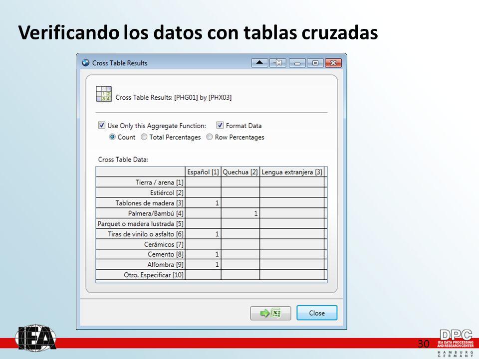 30 Verificando los datos con tablas cruzadas