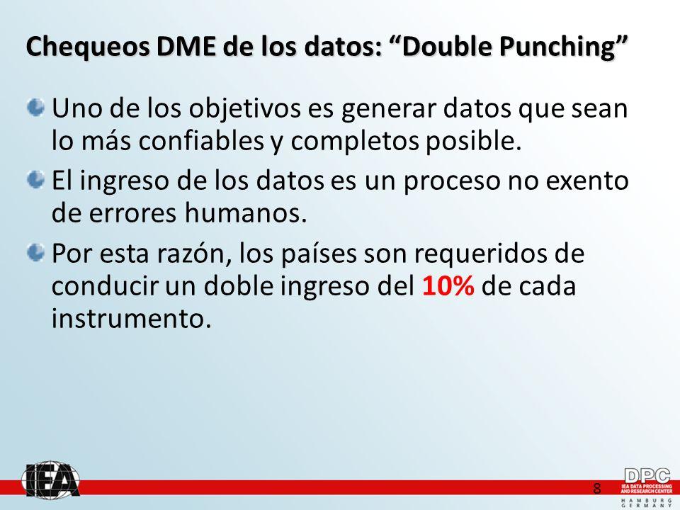 9 Chequeos DME de los datos: Double Punching El chequeo Double Punching compara dos sets de datos que uno elige, haciendo chequeos cruzados de los valores de todas las variables.
