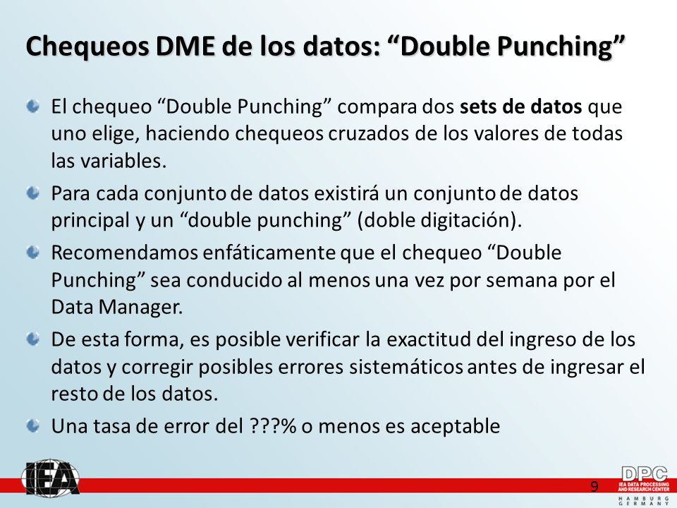 10 Chequeos DME de los datos: Double Punching (output)