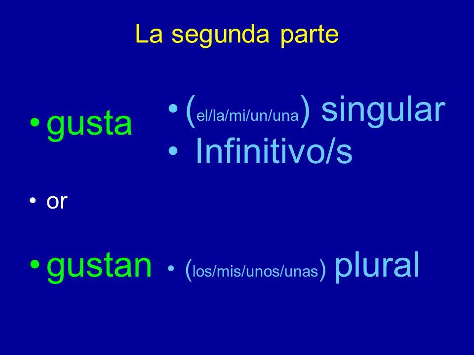 La segunda parte gusta or gustan ( el/la/mi/un/una ) singular Infinitivo/s ( los/mis/unos/unas ) plural