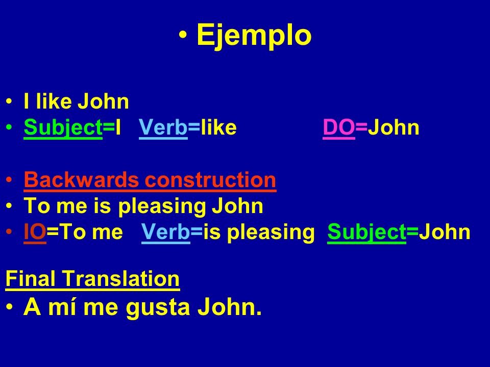 Otro ejemplo I like (the) candies Subject=I Verb=like DO=(the) candies Backwards construction To me are pleasing the candies IO=To me Verb=are pleasing Subject=(the) candies Final Translation A mí me gustan los dulces