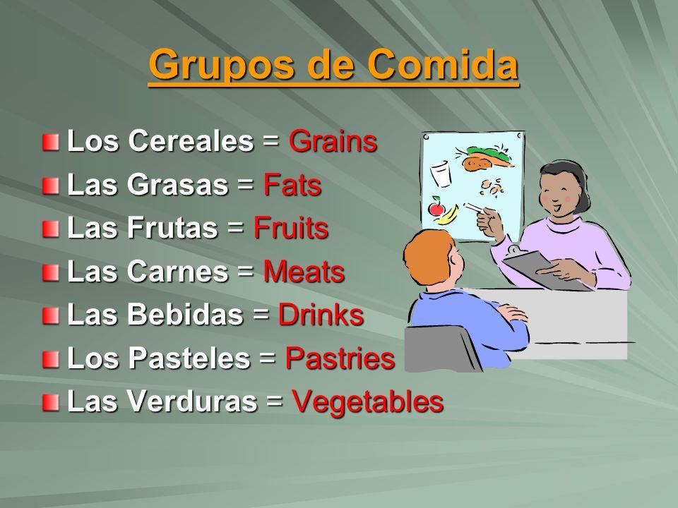 Grupos de Comida Los Cereales = Grains Las Grasas = Fats Las Frutas = Fruits Las Carnes = Meats Las Bebidas = Drinks Los Pasteles = Pastries Las Verduras = Vegetables