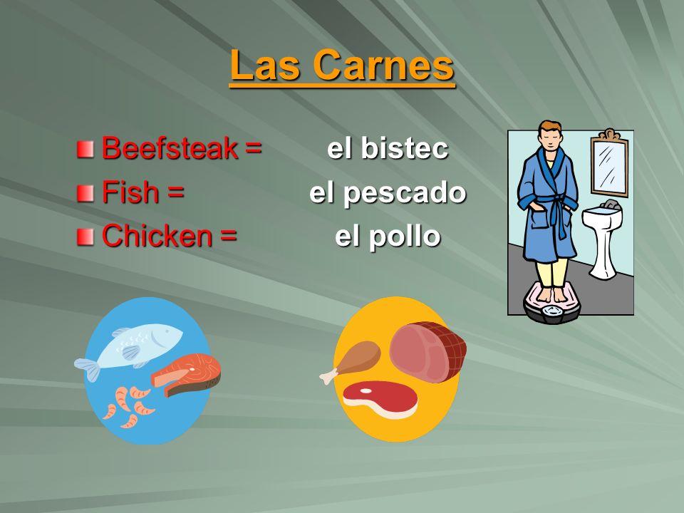 Las Carnes Beefsteak = Fish = Chicken = el bistec el pescado el pollo