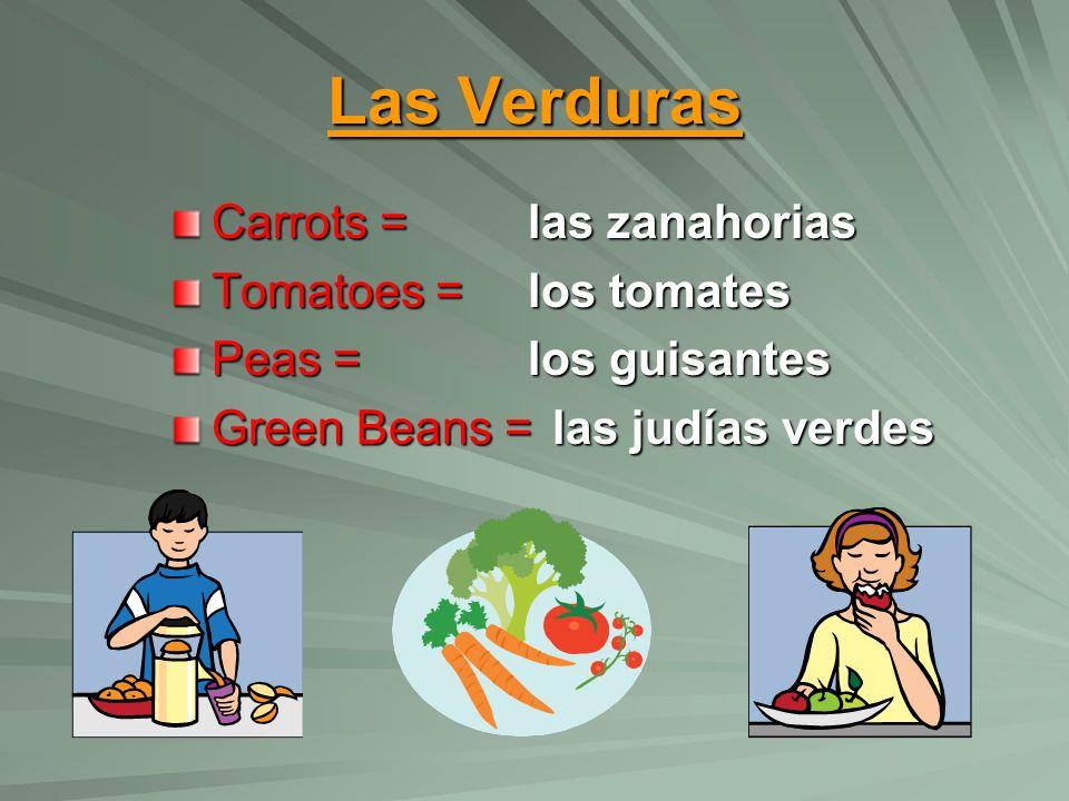 Las Verduras Carrots = Tomatoes = Peas = Green Beans = las zanahorias los tomates los guisantes las judías verdes