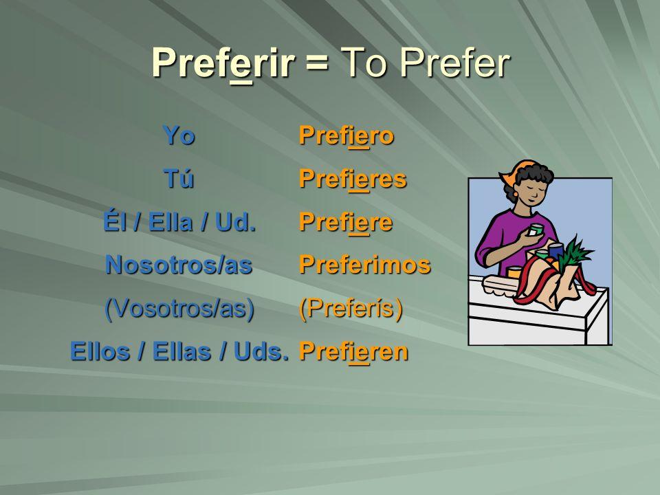 Preferir = To Prefer YoTú Él / Ella / Ud. Nosotros/as(Vosotros/as) Ellos / Ellas / Uds. Prefiero Prefieres Prefiere Preferimos(Preferís) Prefieren