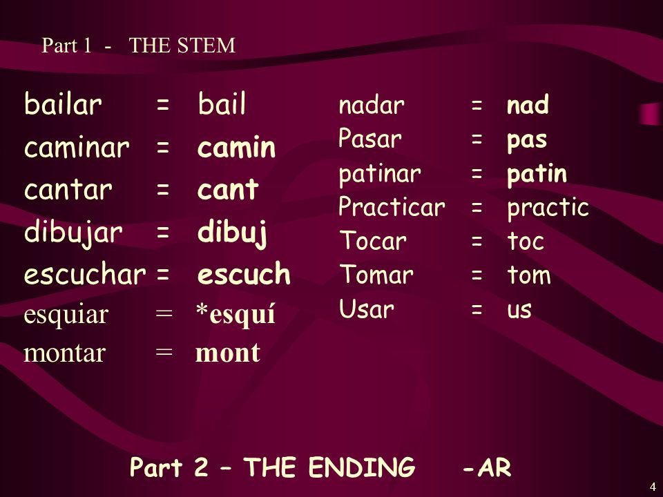 3 Every infinitive has 2 parts: 1.STEM- The stem is the part of the infinitive before one of the 3 endings.