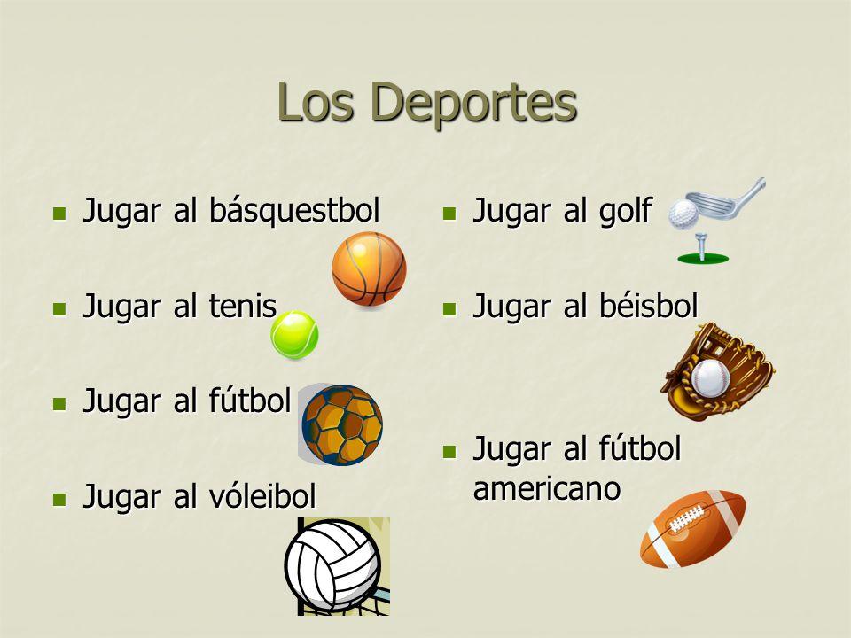 Los Deportes Jugar al básquestbol Jugar al básquestbol Jugar al tenis Jugar al tenis Jugar al fútbol Jugar al fútbol Jugar al vóleibol Jugar al vóleib