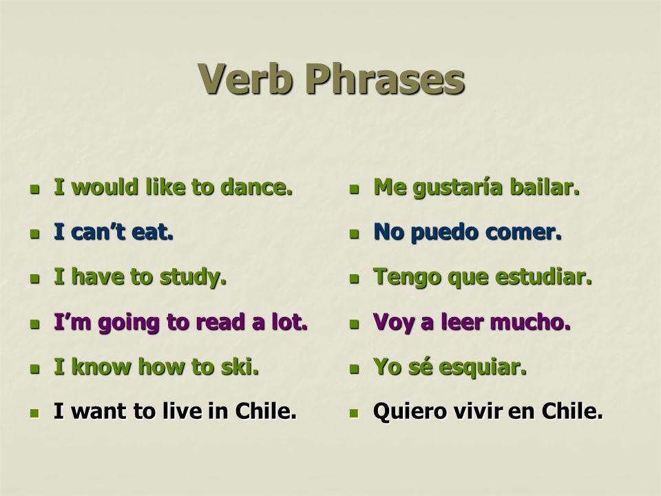 Verb Phrases Me gustaría bailar. Me gustaría bailar. No puedo comer. No puedo comer. Tengo que estudiar. Tengo que estudiar. Voy a leer mucho. Voy a l