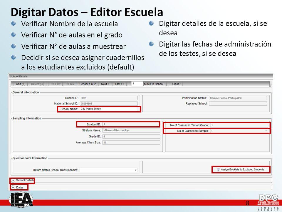 19 Condiciones para importar Para cada escuela debe existir un archivo que se identifique con la convención de nombres del software: ClassListingForm_TERCE_.xls (e.g.