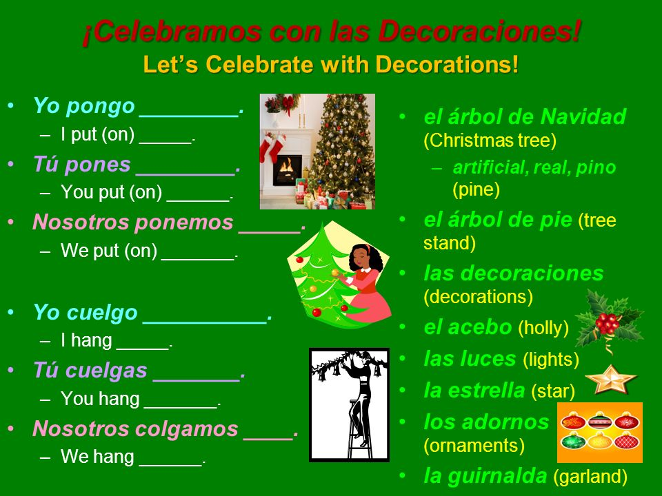 ¡Celebramos con las Decoraciones! Lets Celebrate with Decorations! Yo pongo ________. –I put (on) _____. Tú pones ________. –You put (on) ______. Noso