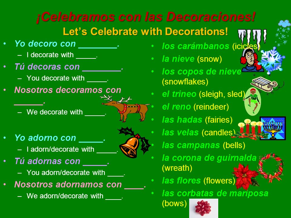 ¡Celebramos con las Decoraciones! Lets Celebrate with Decorations! Yo decoro con ________. –I decorate with _____. Tú decoras con ________. –You decor
