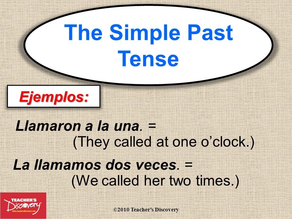 Using the past tense in Spanish El pretérito By Jami Sipe ©2010 Teachers Discovery