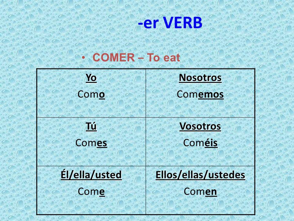 -er VERB COMER – To eat Yo ComoNosotros Comemos Tú ComesVosotros Coméis Él/ella/usted ComeEllos/ellas/ustedes Comen
