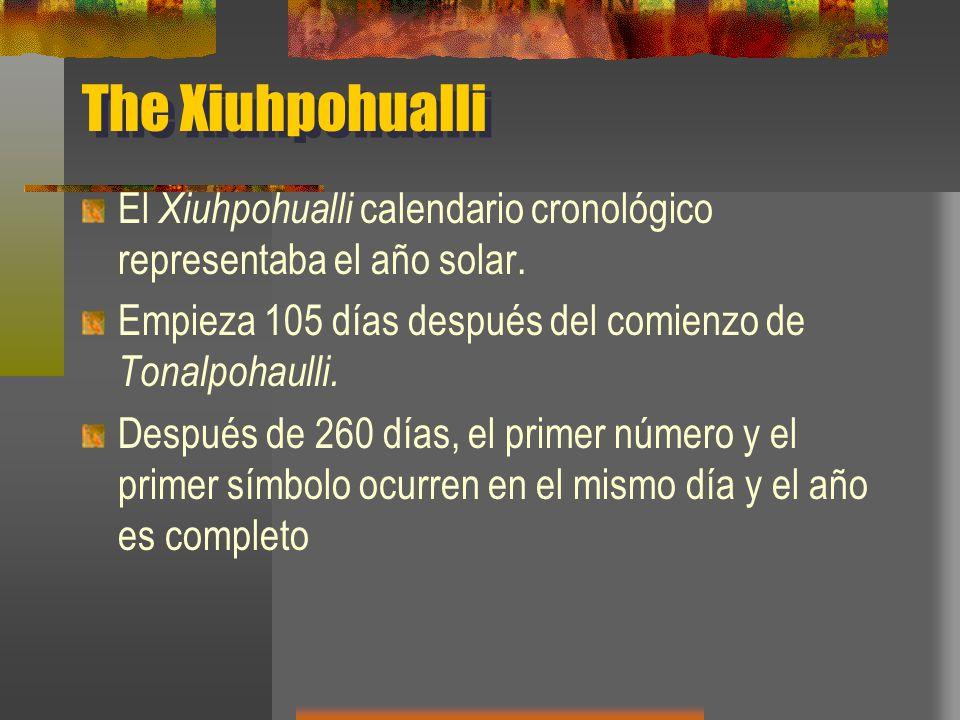 The Xiuhpohualli El Xiuhpohualli calendario cronológico representaba el año solar. Empieza 105 días después del comienzo de Tonalpohaulli. Después de