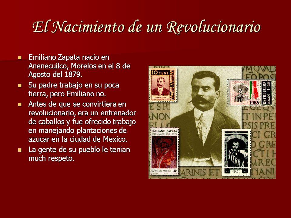 El Nacimiento de un Revolucionario Emiliano Zapata nacio en Anenecuilco, Morelos en el 8 de Agosto del 1879. Emiliano Zapata nacio en Anenecuilco, Mor