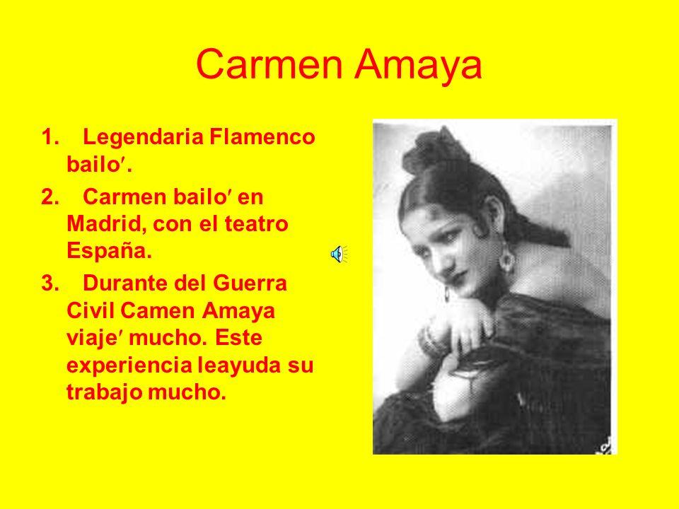 Antonia Mercé La Argentina 1. Ella fue talentido en tango, tap y las castanets. 2. Antonia hacίa ella ballet cumplimiento con el Royal O pera Teatro e