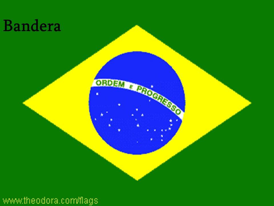 De la Bandera Descripción: verde con un diamante amarillo grande en el centro que soporta un globo celestial azul con 27 estrellas y cinco- señalados blancas (uno para cada estado y el Distrito Federal) arreglado en la misma manera como el cielo de noche sobre Brasil; el globo tiene una banda ecuatorial blanca con el lema ORDEM E PROGRESSO (la Orden y el Progreso)