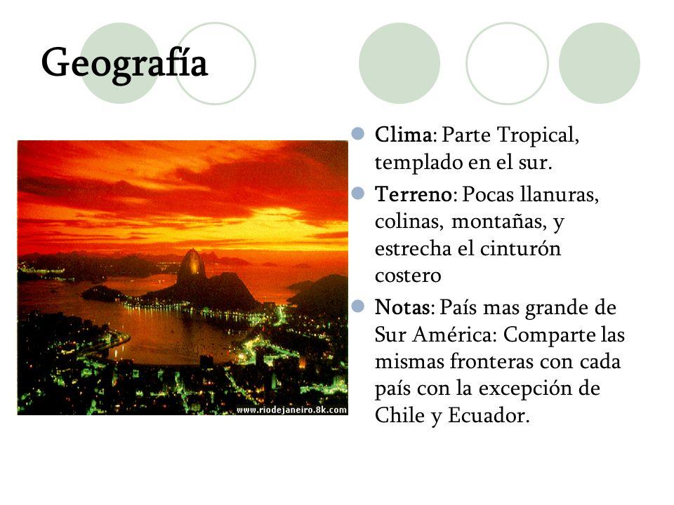 Geografía Clima: Parte Tropical, templado en el sur. Terreno: Pocas llanuras, colinas, montañas, y estrecha el cinturón costero Notas: País mas grande