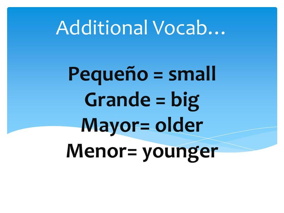 Pequeño = small Grande = big Mayor= older Menor= younger Additional Vocab…