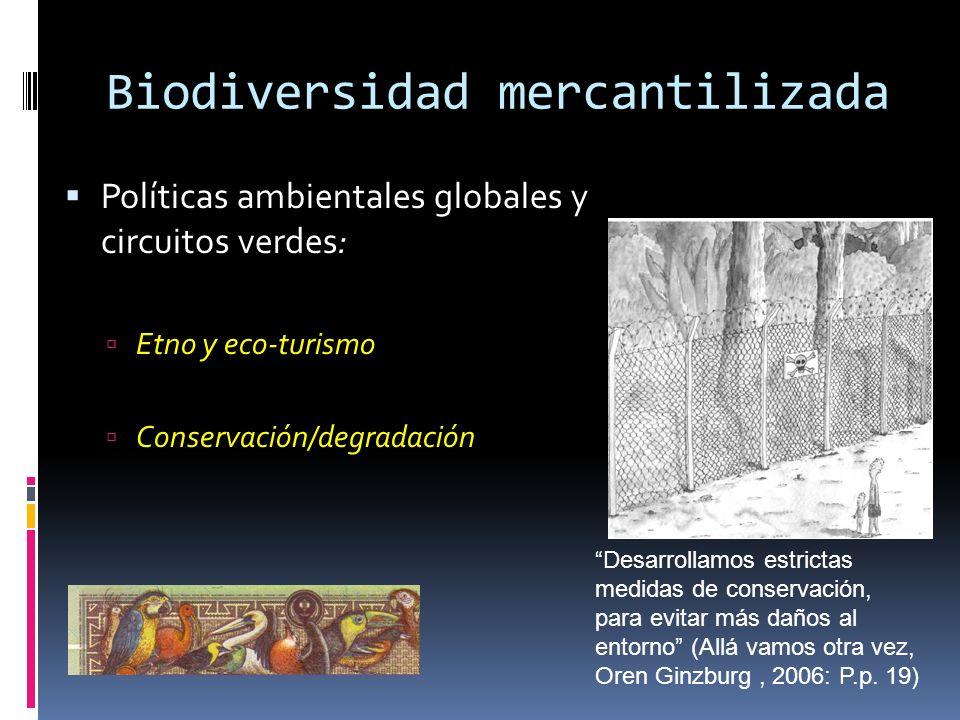 Biodiversidad mercantilizada Políticas ambientales globales y circuitos verdes: Etno y eco-turismo Conservación/degradación Desarrollamos estrictas me