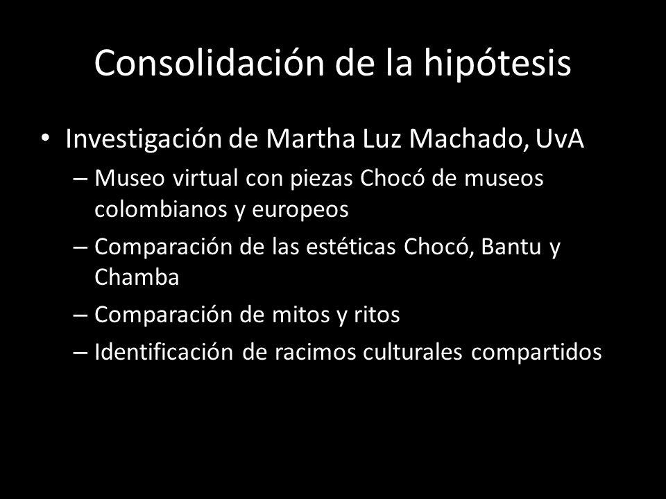 Consolidación de la hipótesis Investigación de Martha Luz Machado, UvA – Museo virtual con piezas Chocó de museos colombianos y europeos – Comparación de las estéticas Chocó, Bantu y Chamba – Comparación de mitos y ritos – Identificación de racimos culturales compartidos