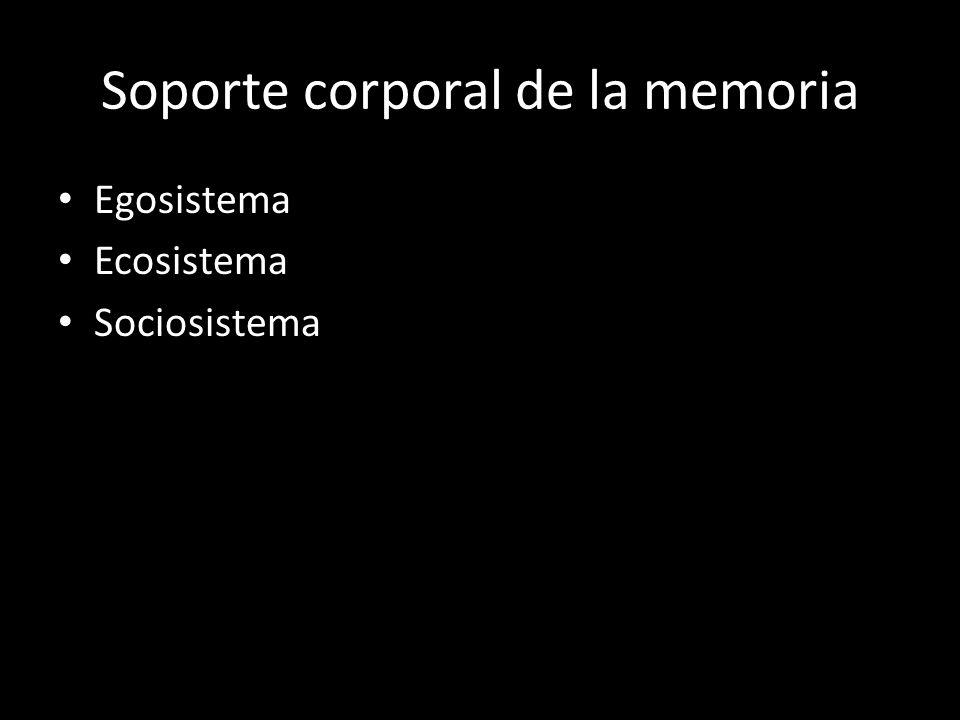 Soporte corporal de la memoria Egosistema Ecosistema Sociosistema