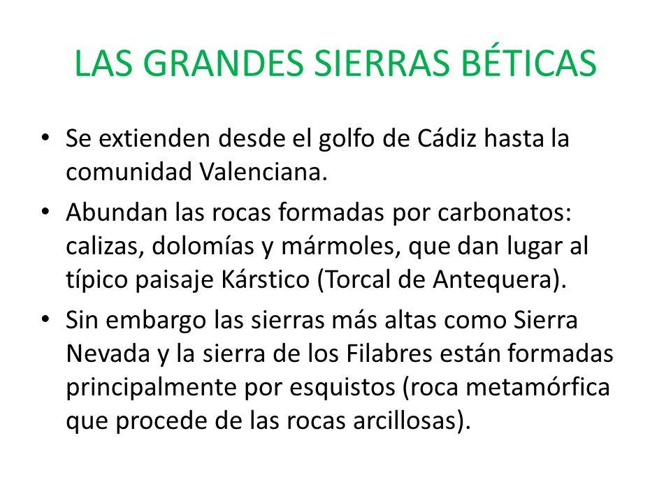 LAS GRANDES SIERRAS BÉTICAS Se extienden desde el golfo de Cádiz hasta la comunidad Valenciana. Abundan las rocas formadas por carbonatos: calizas, do