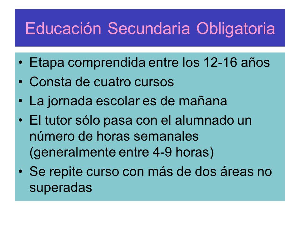 Educación Secundaria Obligatoria Etapa comprendida entre los 12-16 años Consta de cuatro cursos La jornada escolar es de mañana El tutor sólo pasa con