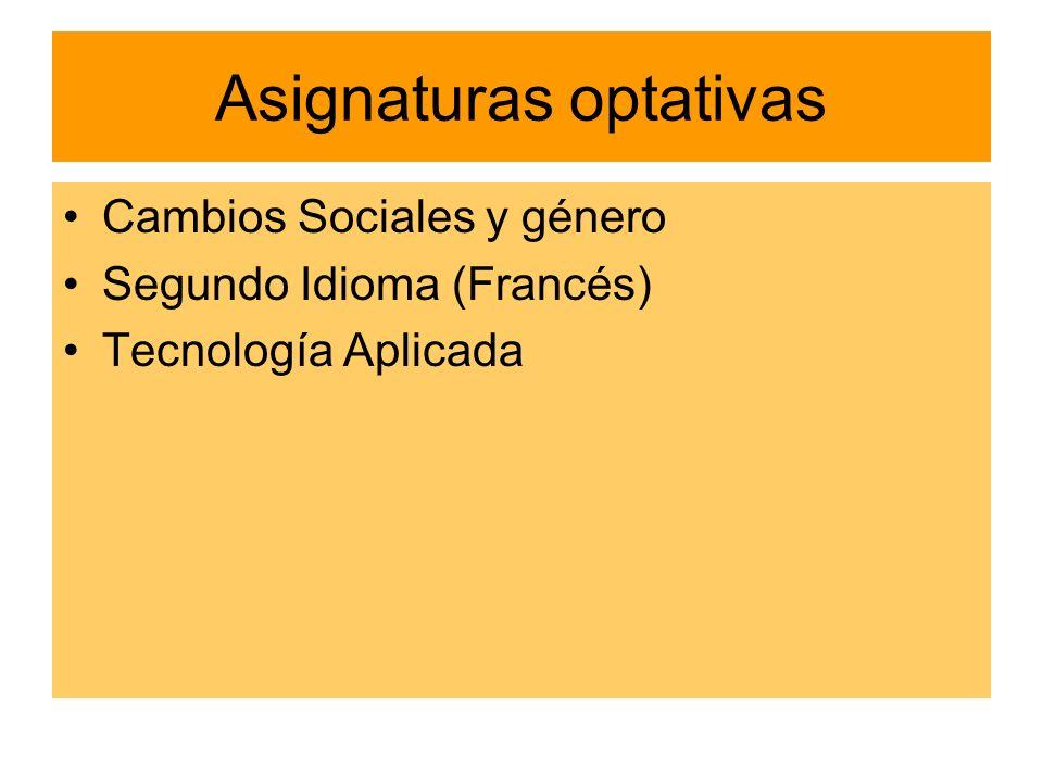 Asignaturas optativas Cambios Sociales y género Segundo Idioma (Francés) Tecnología Aplicada
