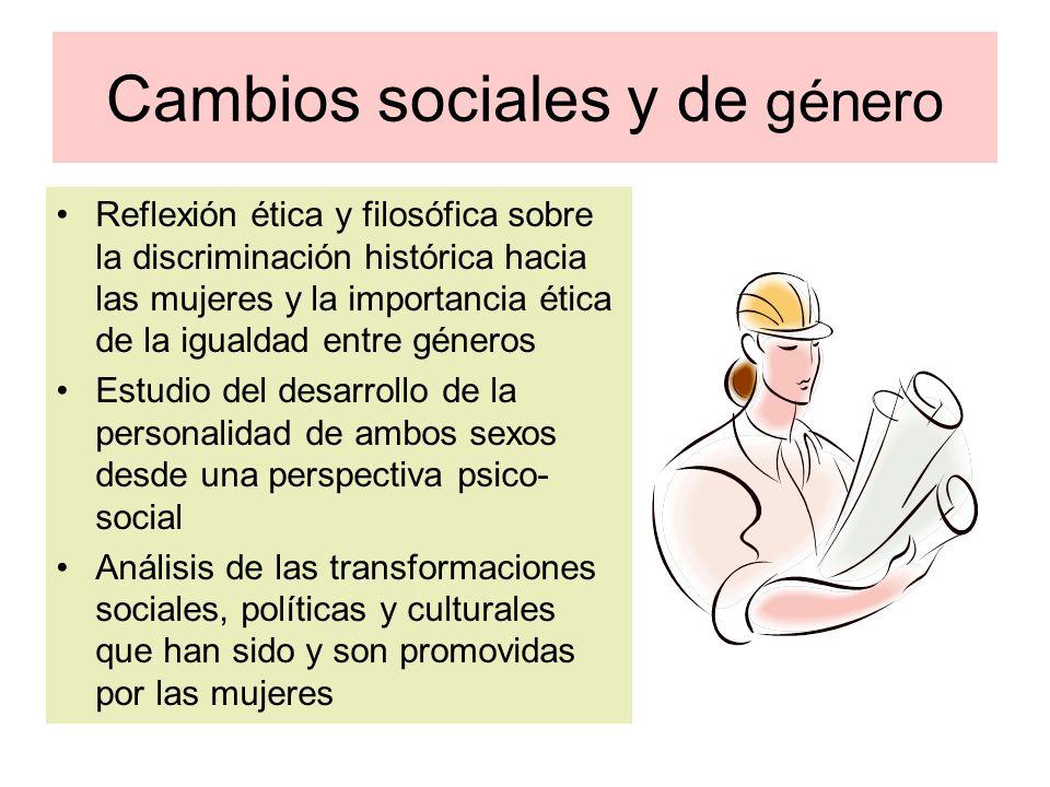 Cambios sociales y de género Reflexión ética y filosófica sobre la discriminación histórica hacia las mujeres y la importancia ética de la igualdad en