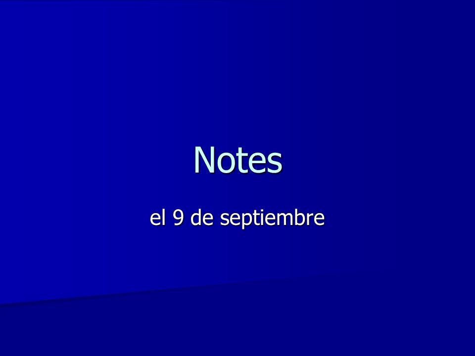 Notes el 9 de septiembre