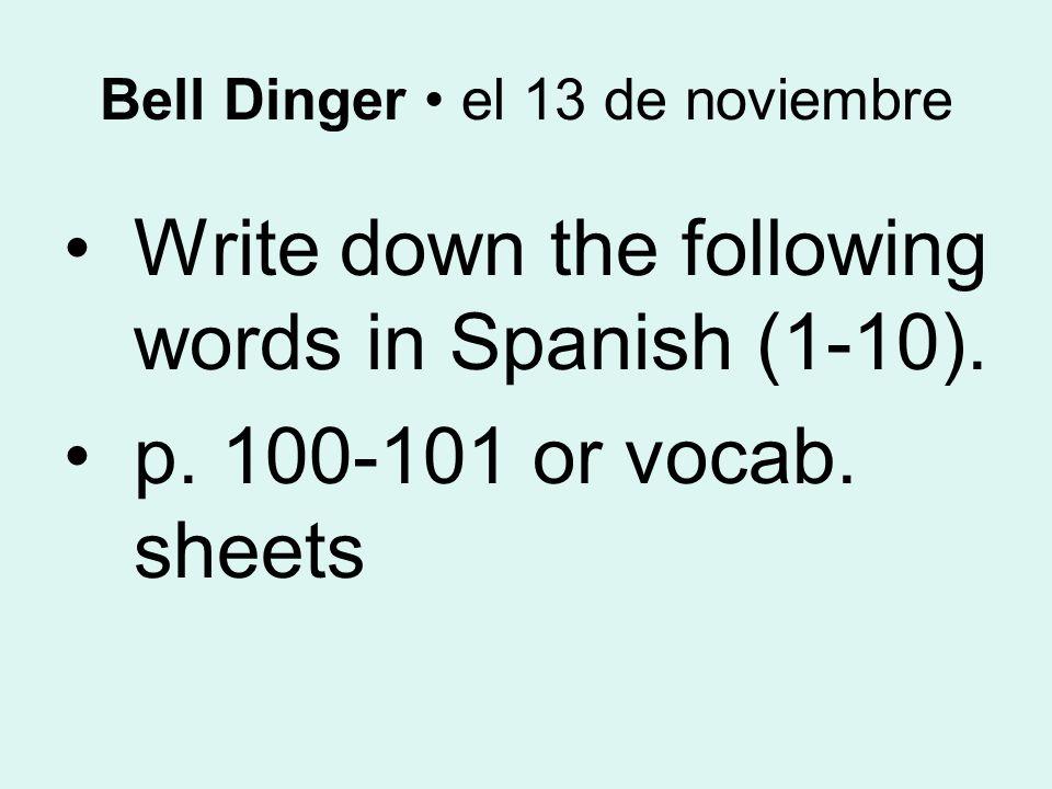 Español 1 el 13 de noviembre
