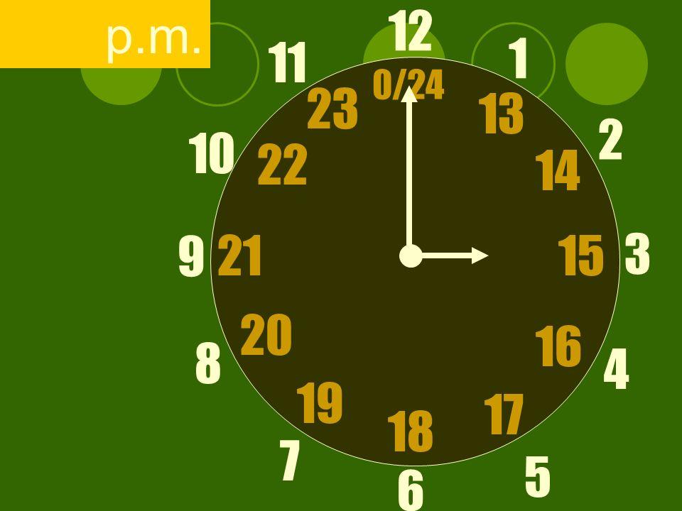 12 6 3 9 1 2 17 4 11 10 7 8 1521 13 14 5 16 23 22 19 20 0/24 18 p.m.