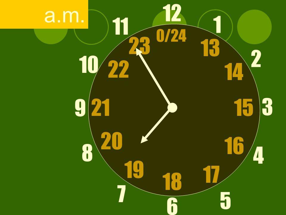 12 6 3 9 1 2 17 4 11 10 7 8 1521 13 14 5 16 23 22 19 20 0/24 18 a.m.