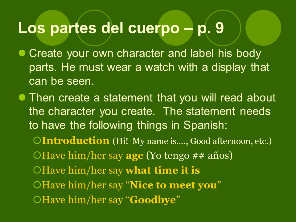 Create your own character and label his body parts.