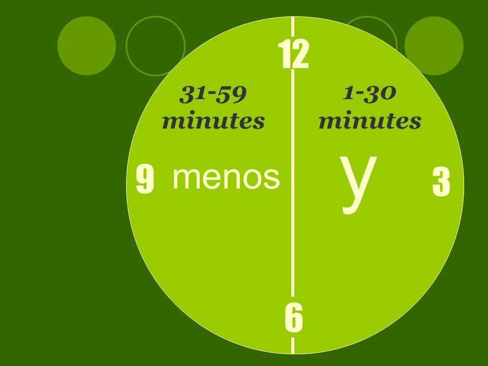 12 6 3 9 y menos 1-30 minutes 31-59 minutes