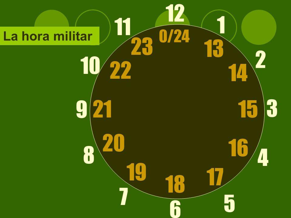 Formula Son las + hora ejemplos: 9:00 – Son las nueve 9:10 – Son las nueve y diez
