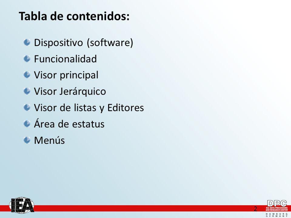 2 Tabla de contenidos: Dispositivo (software) Funcionalidad Visor principal Visor Jerárquico Visor de listas y Editores Área de estatus Menús