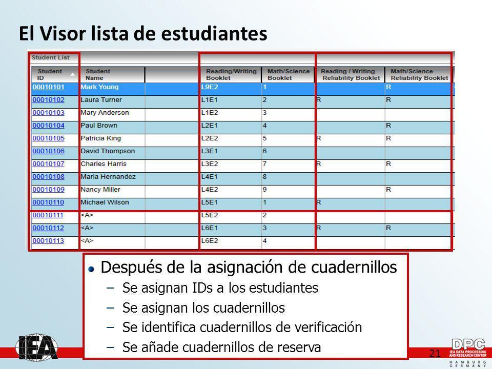 21 El Visor lista de estudiantes Después de la asignación de cuadernillos –Se asignan IDs a los estudiantes –Se asignan los cuadernillos –Se identifica cuadernillos de verificación –Se añade cuadernillos de reserva