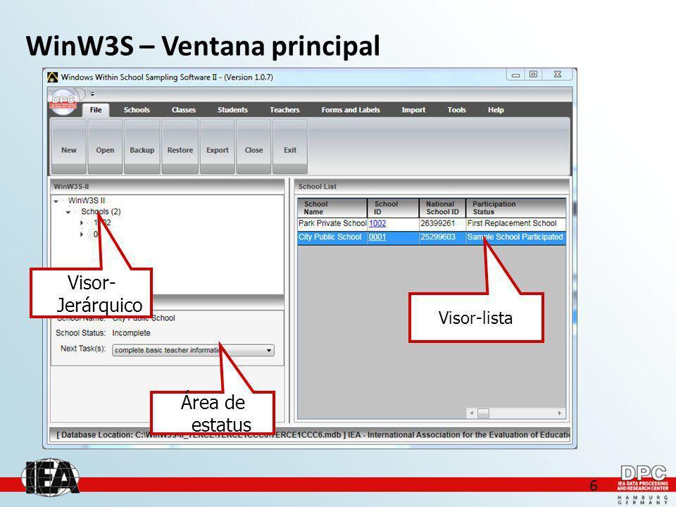 6 WinW3S – Ventana principal Visor- Jerárquico Visor-lista Área de estatus