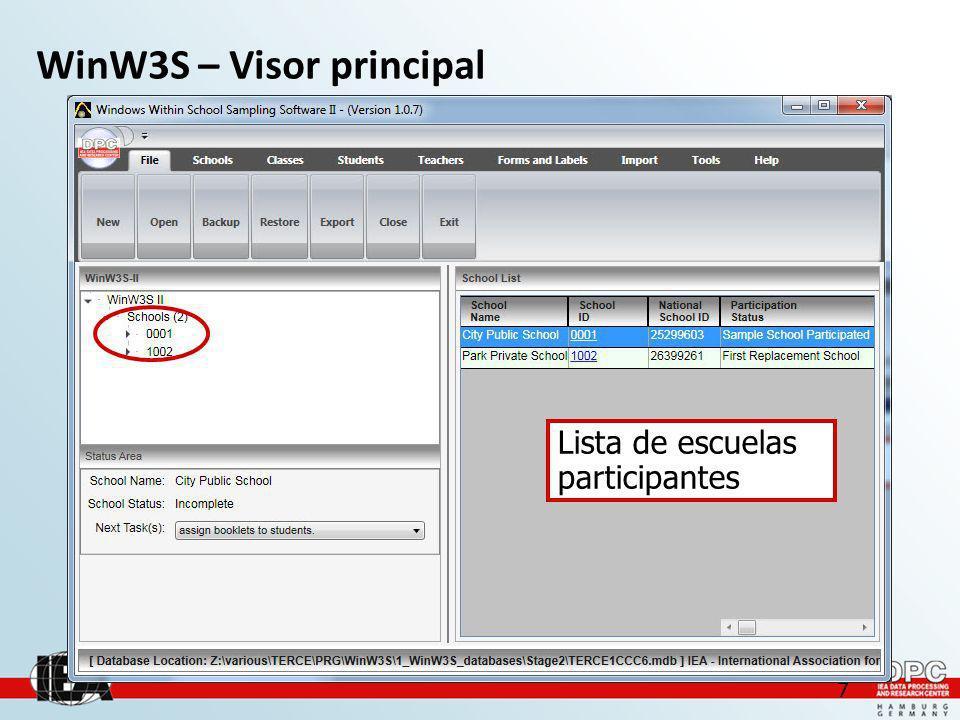 7 WinW3S – Visor principal Lista de escuelas participantes