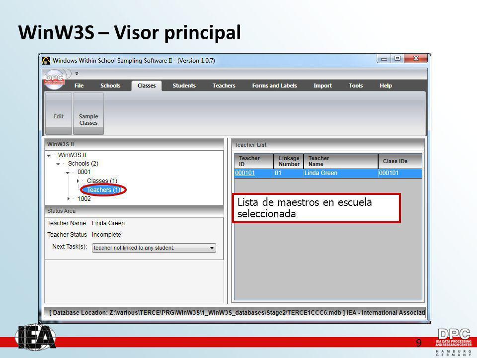 9 WinW3S – Visor principal Lista de maestros en escuela seleccionada