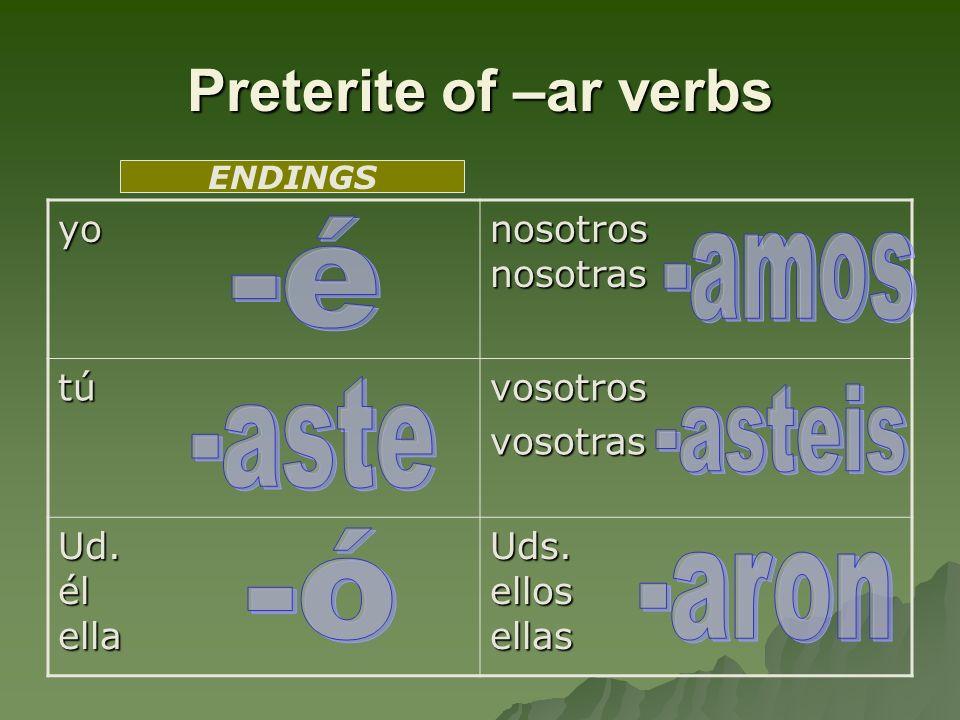 Preterite of –ar verbs yo nosotros nosotras túvosotrosvosotras Ud. él ella Uds. ellos ellas ENDINGS